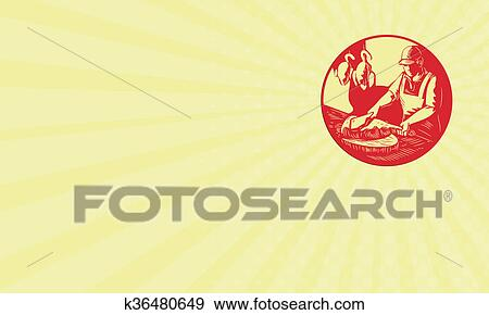 Stock illustration of business card chinese cook chop meat oval stock illustration business card chinese cook chop meat oval circle woodcut fotosearch search colourmoves
