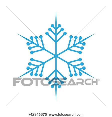 Clipart - copo de nieve, en, plano, design., vector, illustration ...