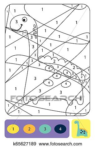 Cute dino coloring page for kids. Coloring puzzle with ...