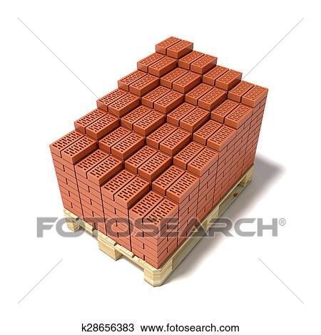 Drawing Of Euro Pallet And Arranged Bricks K28656383
