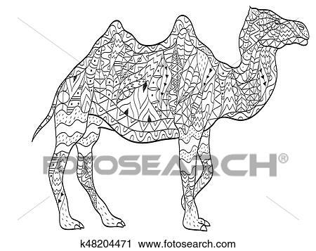 Clipart - färbung, kamel, tier, für, erwachsene k48204471 - Suche ...