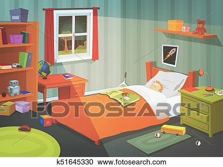 Gosse Ou Adolescent Chambre à Coucher Dans Les Clair Lune Clipart