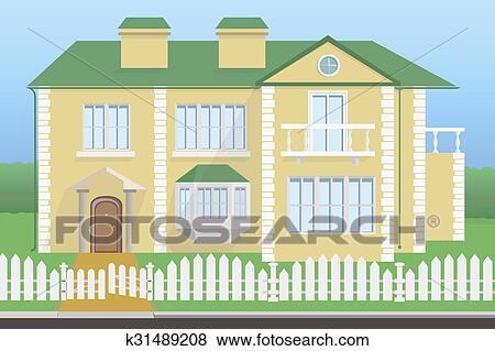 Clip Art Grosses Haus Mit Balkon K31489208 Suche Clipart