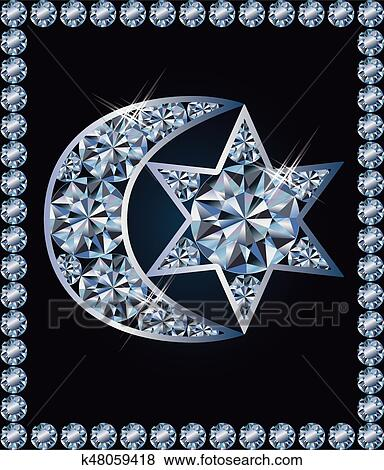 Clip Art Of Islamic Crescent And Jewish Davids Star Symbols Vector