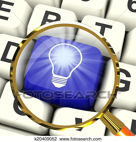 Clip Art Of Light Bulb Key Magnified Means Bright Idea Innovation Or