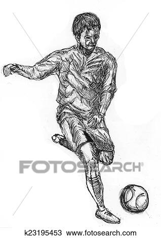 Play Football Sketch Drawing K23195453 Fotosearch
