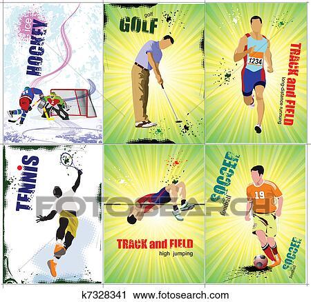 Sechs Sport Posters Fahrte Feld Clipart