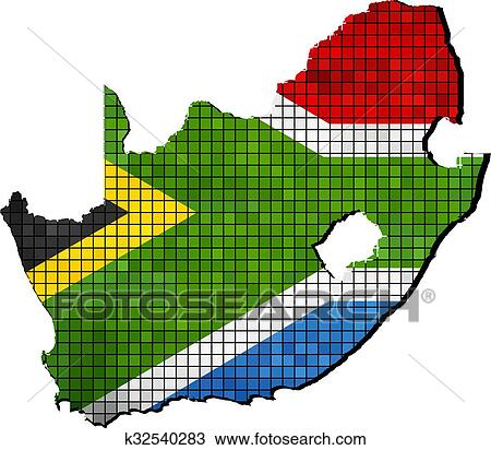 Flag Map Of Africa.Drawing Of South Africa Map With Flag Inside K32540283 Search