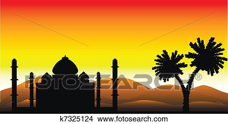 clipart of the silhouette of a mosque in the desert k7325124 rh fotosearch com Sunset Clip Art Sunrise Clip Art Black and White
