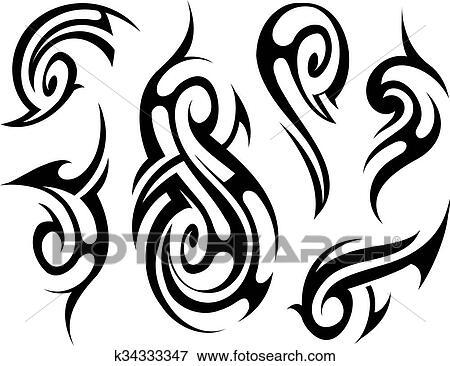 clip art of tribal tattoo set k34333347 search clipart rh fotosearch com tribal clipart images clipart tribal gratuit