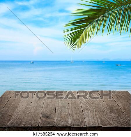 Vuoto Tavola Legno Con Tropicale Mare E Foglia Palma Sullo