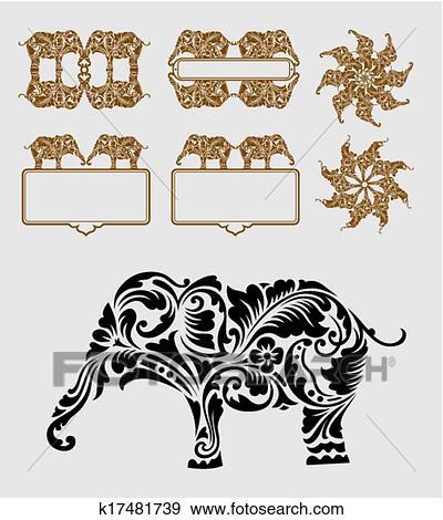 Clipart Elephant Ornement Decoration K17481739 Recherchez Des