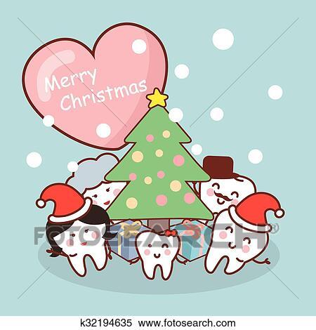 Buon Natale Famiglia.Buon Natale A Dente Famiglia Clipart K32194635 Fotosearch