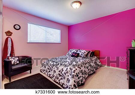 Filles, chambre à coucher, dans, rose, noir blanc Banque d\'Image ...