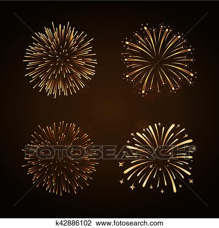 firework gold bursting sparkle background set golden night fire beautiful explosion for celebration holiday christmas new year birthday