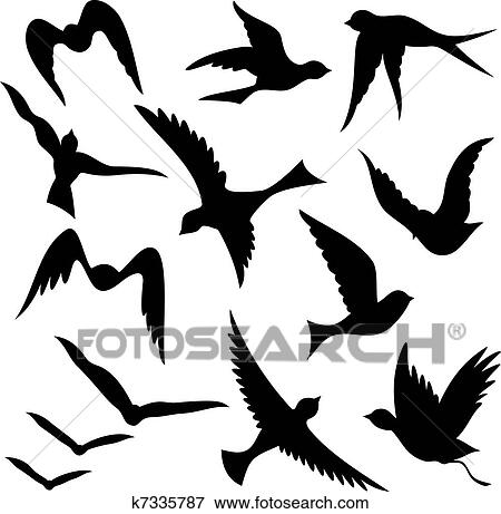 clip art of flying bird silhouettes k7335787 search clipart rh fotosearch com flying bird clipart flying bird clipart images