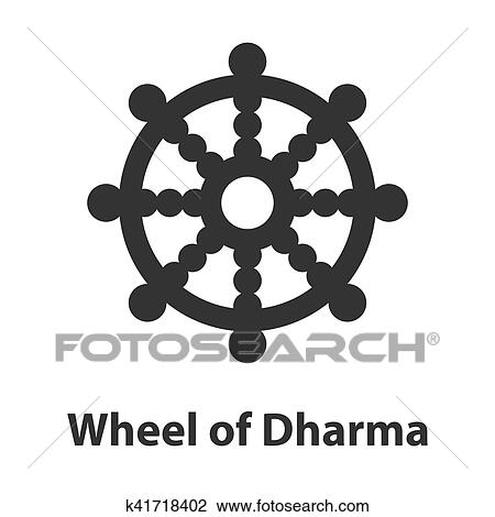 Clipart Of Icon Of Wheel Of Dharma Symbol Buddhism Religion Sign