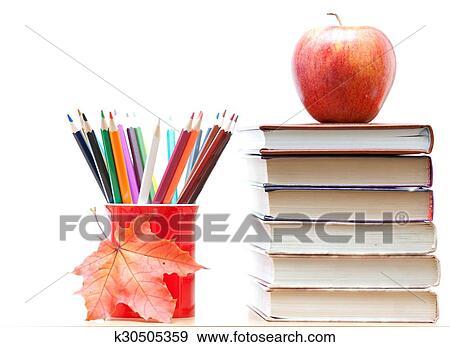 Colección de fotografía - lápices de color, y, libros k30505359 ...