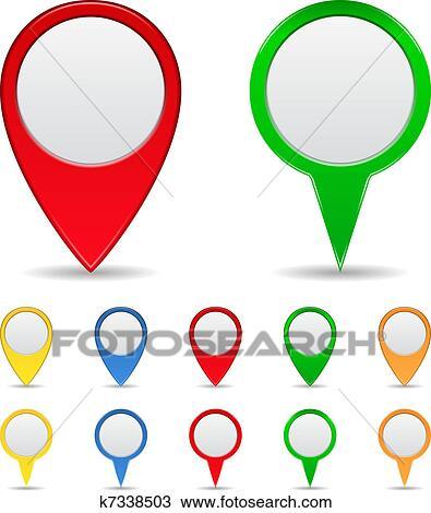 Landkarte Markierungen Clipart K7338503 Fotosearch