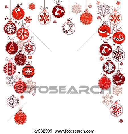Clip Art Leer Weihnachten Rahmen Mit Kontur Hängender Kugeln