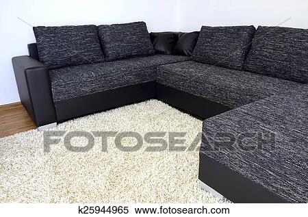 Divano Nero E Bianco : Archivio immagini moderno nero bianco stoffa divano con