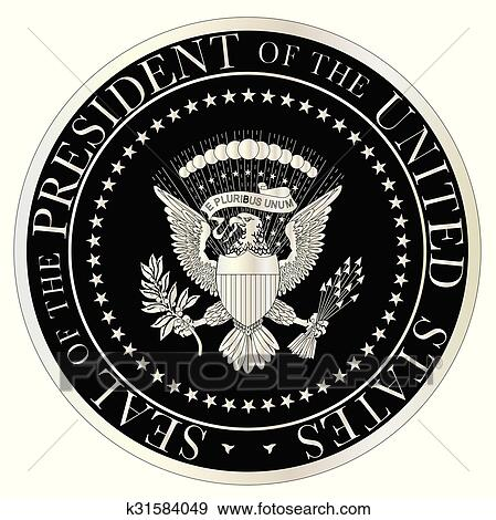 clip art of silver presidential seal k31584049 search clipart rh fotosearch com presidential seal clipart free Printable Presidential Seal