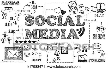 Clipart Of Social Media On White Background K17988471