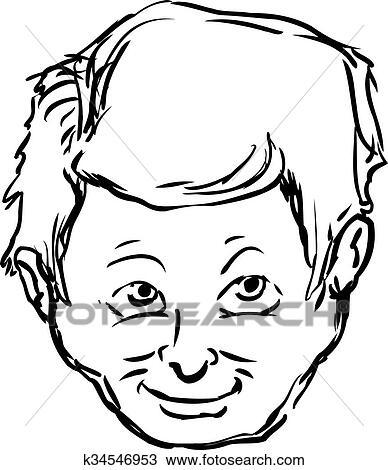 Sorrindo Rosto De Homem Esboco Desenho K34546953 Fotosearch