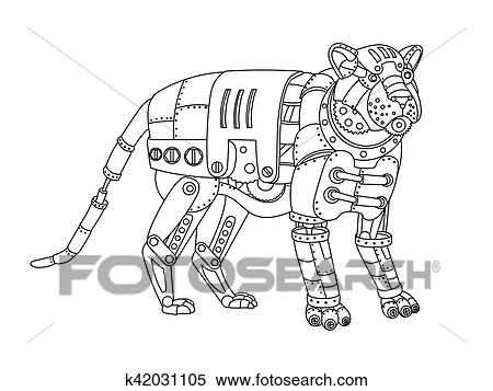 Steampunk Style Tiger Coloring Book Vector Clipart
