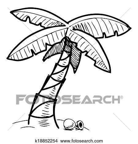 Clipart Of Tropical Palm Tree Sketch Illustration K18852254
