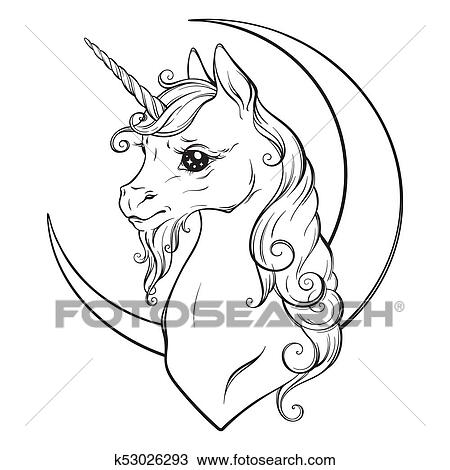 Clipart Of Unicorn And Crescent Moon Coloring Book Pages K53026293