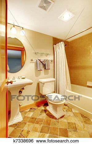 Stock Bilder - warme, goldenes, badezimmer, mit, natürlich ...