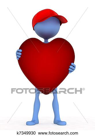 3d Person Holding Heart In His Hand Clipart K7349930 Fotosearch