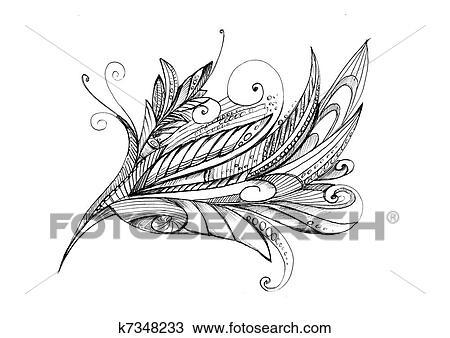 Abstrakt Ungewöhnlich Bleistift Zeichnen Blume Stock Bild