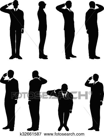 clip art of businessman silhouette in saluting k32661587 search