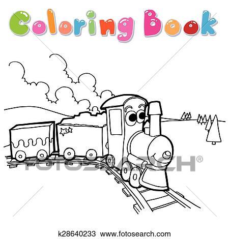Clipart of Coloring book train vector k28640233 - Search Clip Art ...