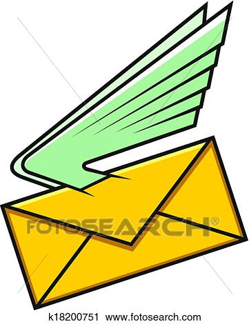Clipart Of Envelope With Wings Symbol Of Fast Delivery K18200751