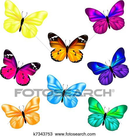 clipart schmetterling symbol satz k7343753 suche clip art illustration wandbilder. Black Bedroom Furniture Sets. Home Design Ideas