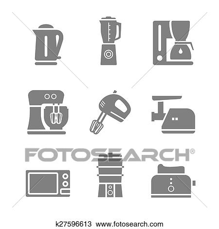 Kitchen Appliances Vector Silhouette Icon Set Clipart