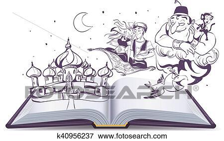 Livre Ouvert Histoire Conte Lampe Magique Clipart