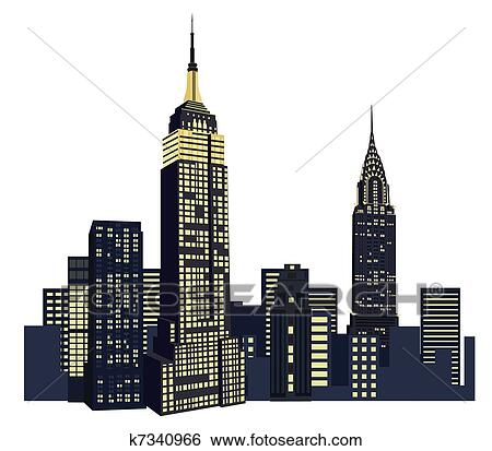 Clipart New York Wolkenkrabbers K7340966 Zoek Clipart