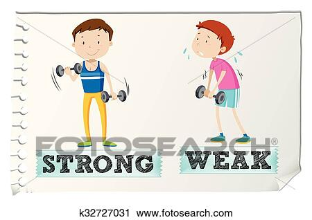 clipart of opposite adjectives with strong and weak k32727031 rh fotosearch com strong clipart black and white clipart strong boy