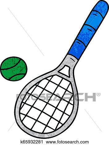 Textured Cartoon Doodle Tennis Racket And Ball Clipart K65932281 Fotosearch