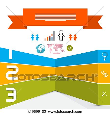Clipart - web, mal, -, papier, vector, Infographic, opmaak k19699102 ...