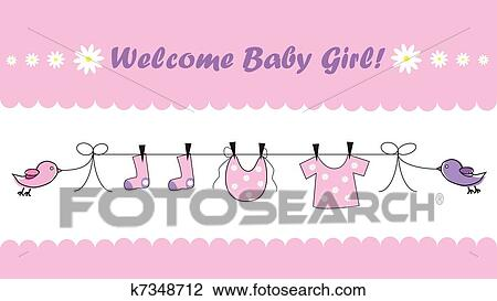 clipart of welcome baby girl k7348712 search clip art