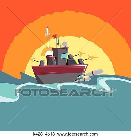 Clipart Dessin Animé Navire Guerre K42814518 Recherchez Des