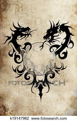 banque de photo dragon tribal sph re tatouage. Black Bedroom Furniture Sets. Home Design Ideas