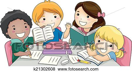 clip art of group study k21302608 search clipart illustration rh fotosearch com studying clipart black and white clipart studying student