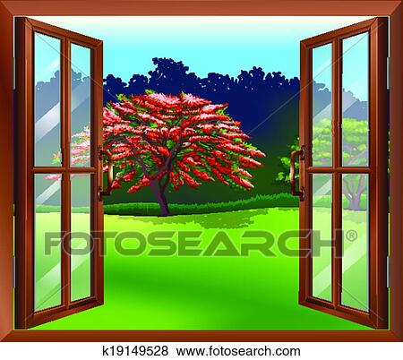 clipart une ouvrir fen tre a vue de les grand arbre k19149528 recherchez des. Black Bedroom Furniture Sets. Home Design Ideas