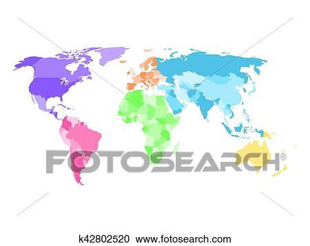 Karte Kontinente Welt.Leer Vereinfacht Politisch Karte Welt Mit Verschieden Farben Von Jedes Kontinent Clipart